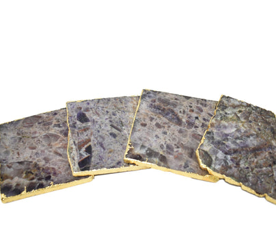 Square Coasters with Gold Trim, Set of 4