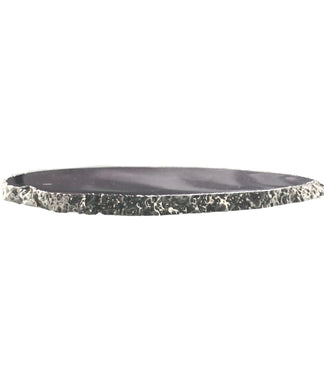 Agate Thin Serving Plate with SILVER Rim