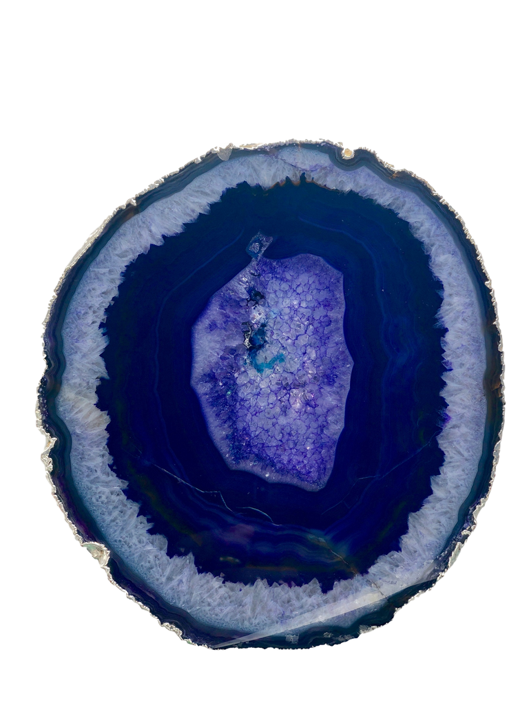 Agate Thick Decorative Platter with SILVER Trim