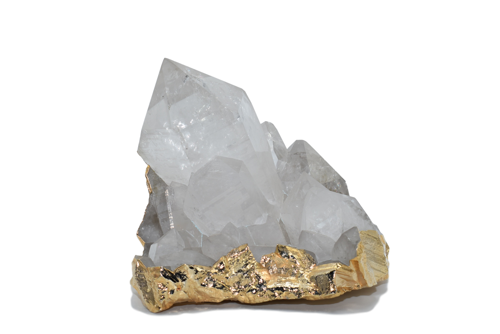 Quartz Cluster Specimen with Gold Electroplating