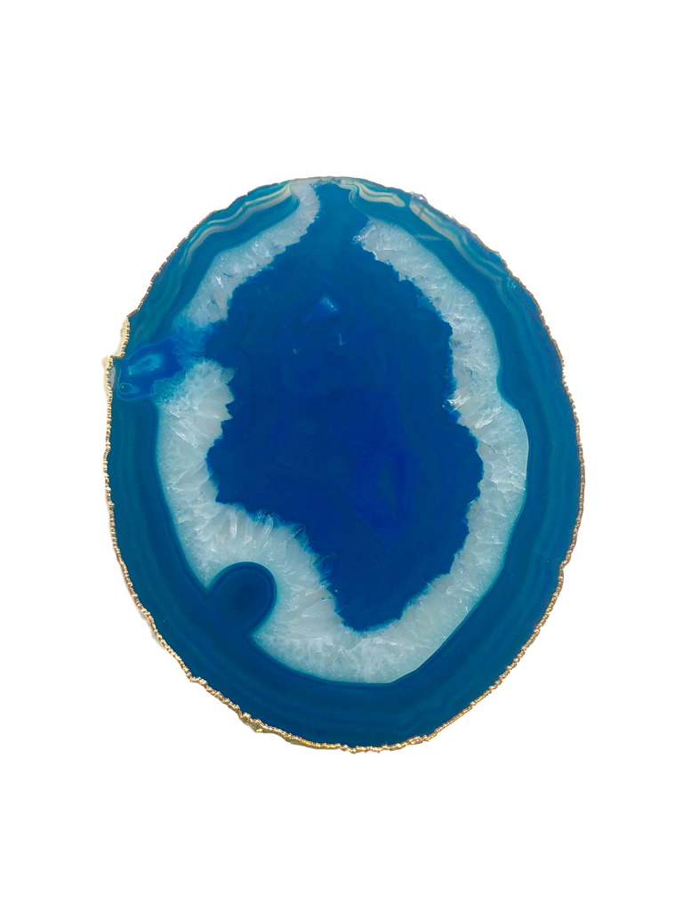 Agate Thin Serving Plate with GOLD Trim