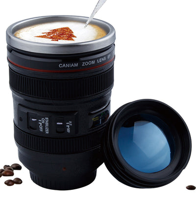 Stainless Steel Camera Lens Mug With Lid