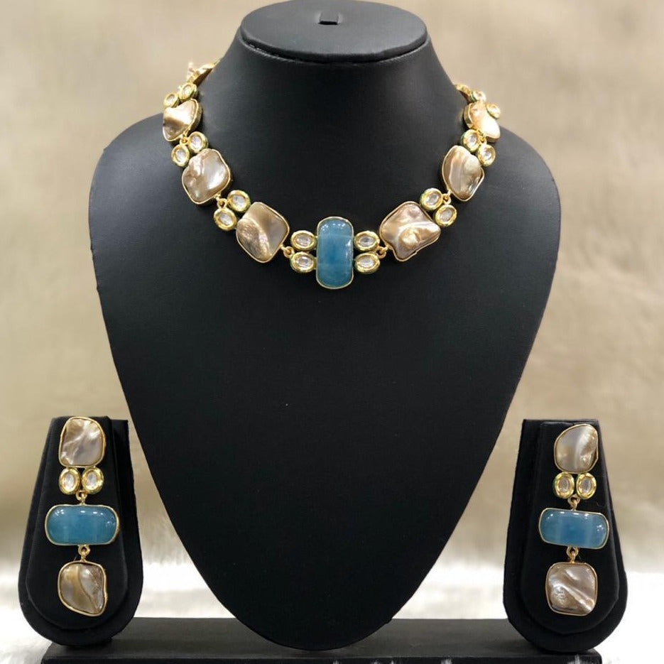 Cerulean Blue Pendant Necklace Set