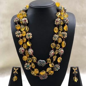 Multilayered Jadau Composition Necklace Set