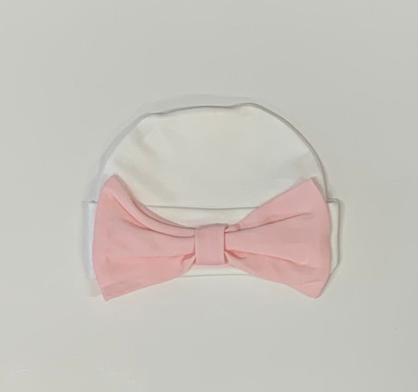 White Pima Hat with Pink Bow