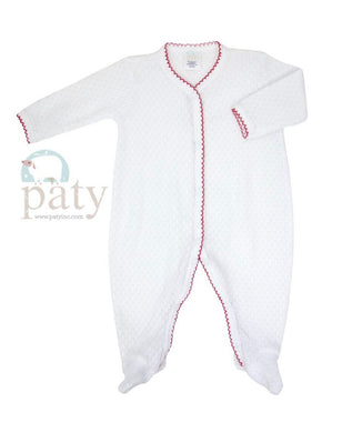 Paty Red/White Long Sleeve Footie