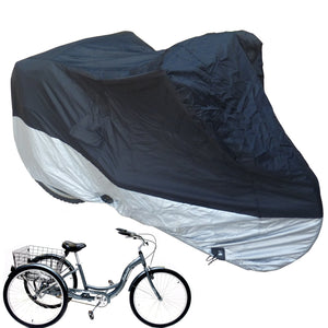 Bicycle Tricycle Cover Outdoor Storage Black Silver - Covered Living