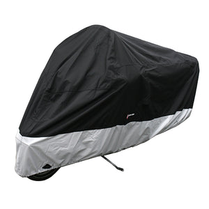 "deluxe-light-weight-black-motorcycle-cover-xxl-108""-long"