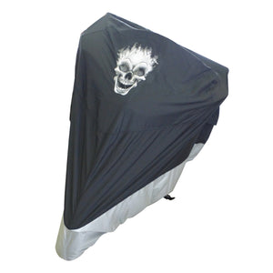deluxe-light-weight-black-motorcycle-cover-flaming-skull-logo