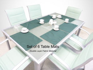 hunter-green-6-matching-table-mat-set-double-layer-indoor-outdoor-fabric