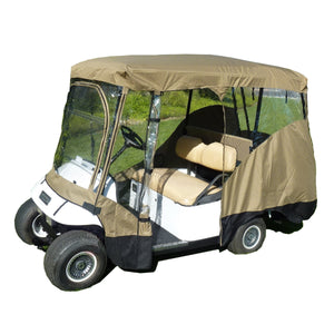 "Golf Cart Driving Enclosure Cover for EZGO, Club Car, Yamaha G (Long Roof, 80""L) - 4 Passenger"