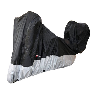 Deluxe all season Motorcycle cover (L-XL). Fits sport bike with hidden pouch for back rack trunk