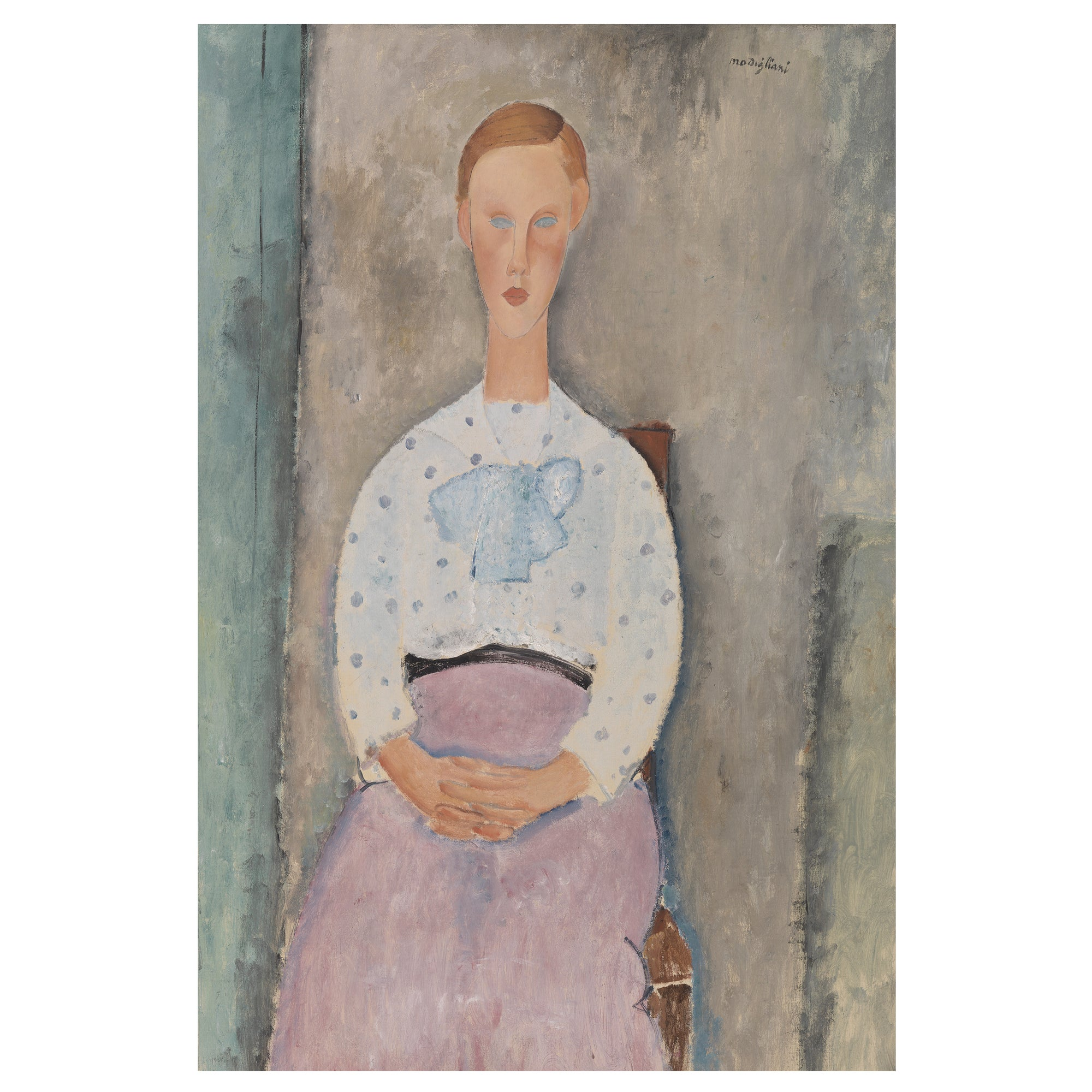 Amedeo Modigliani art print, girl pink skirt and polka dot blouse