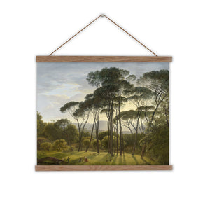 Canvas wall chart of vintage landscape painting with umbrella trees