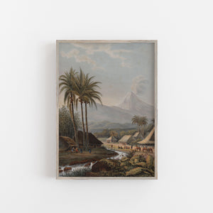 Volcano vintage tropical palm tree print poster