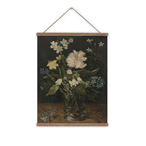 Garden flowers vintage canvas wall chart