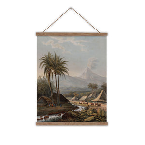 Volcano vintage tropical palm tree canvas wall chart
