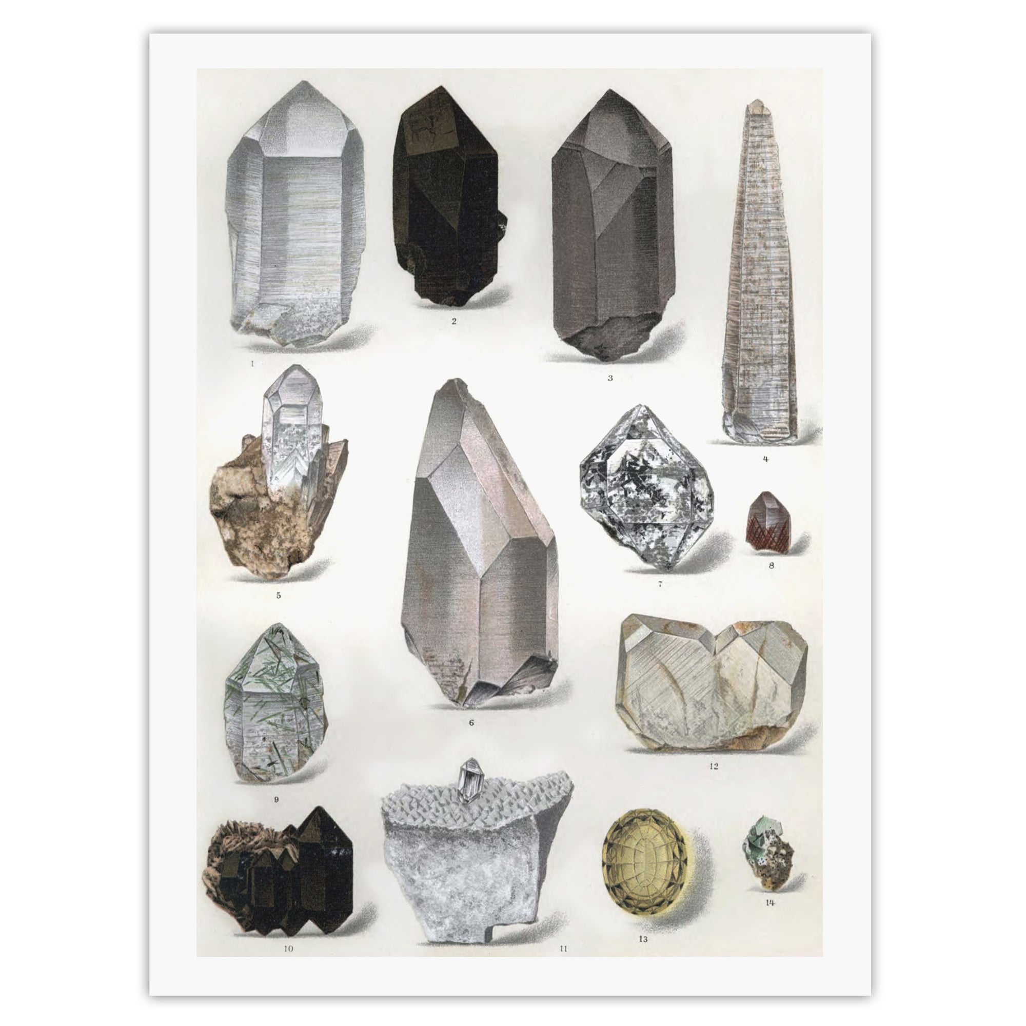 Quartz crystal vintage wall art
