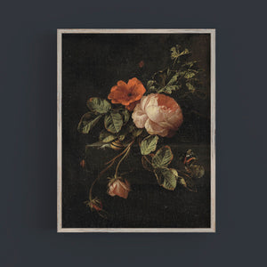 Vintage flower painting dark background