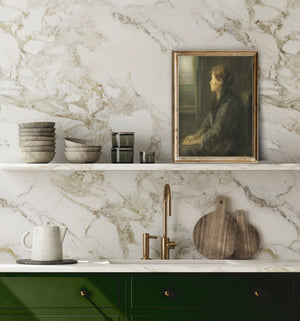 Styling vintage art in a kitchen