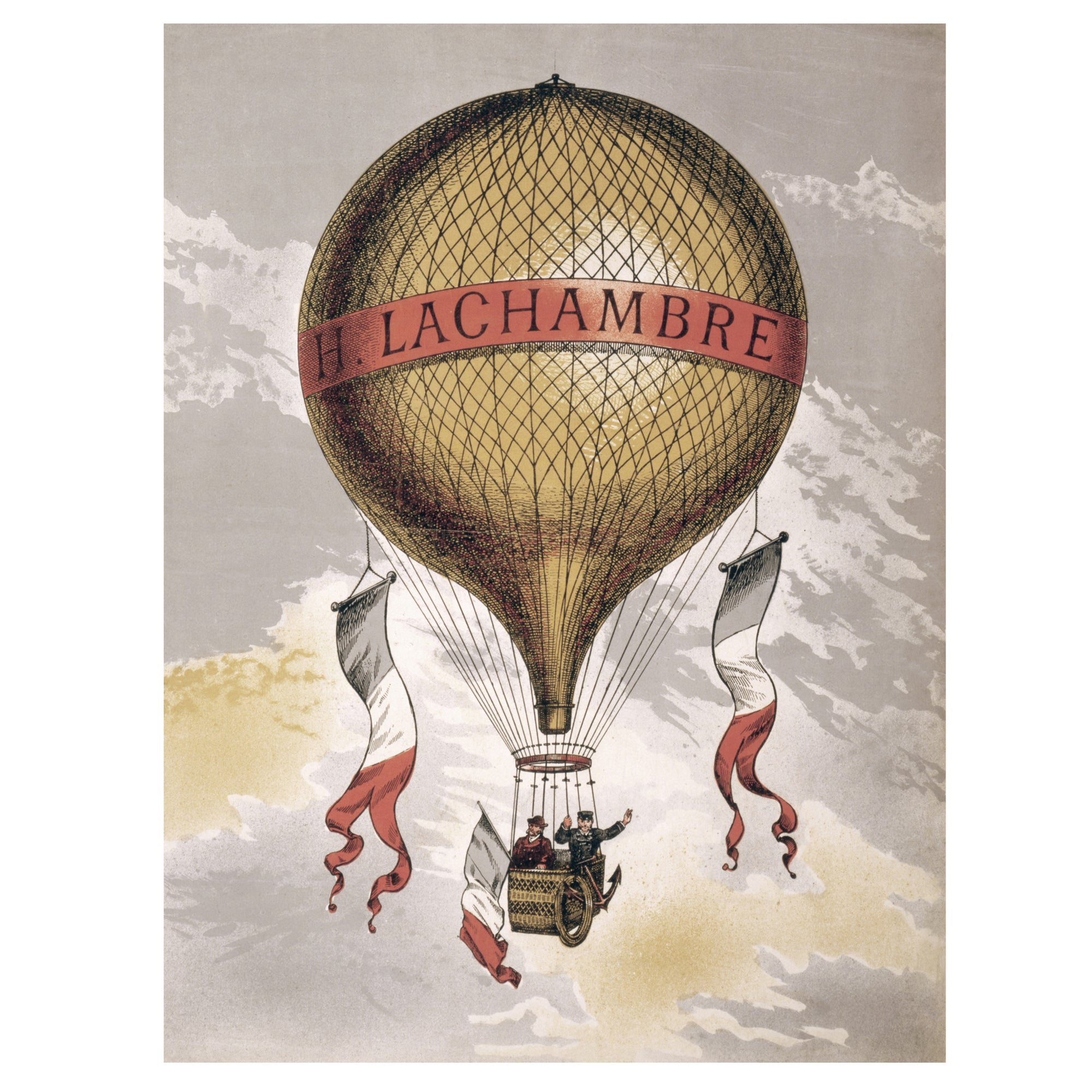 Vintage hot air balloon poster print