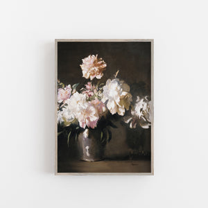 flowers on a dark background vintage wall art
