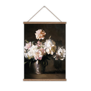 Vintage flowers canvas wall chart