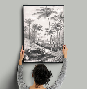 Monochrome palm wall decor