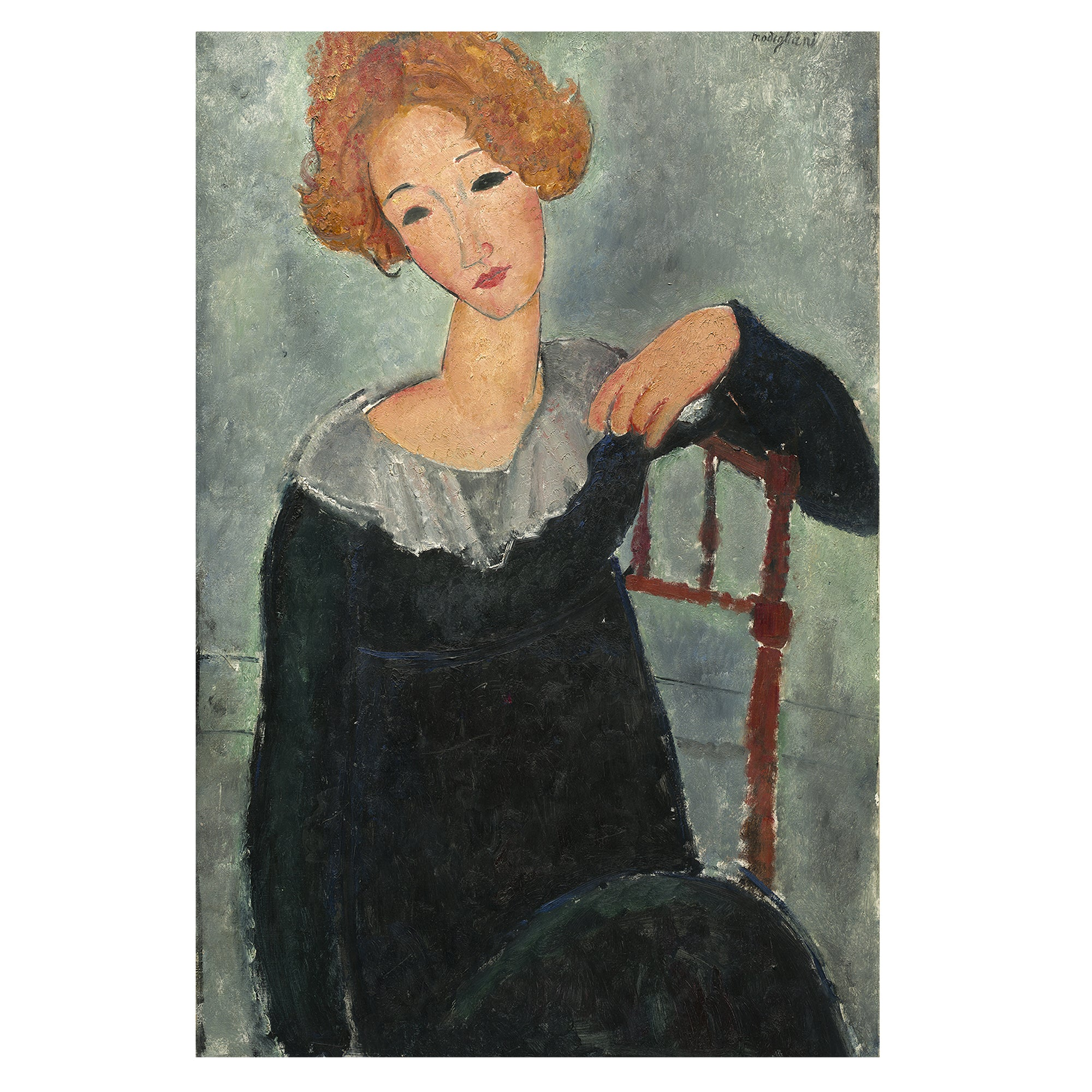 Modigliani lady with red hair vintage print
