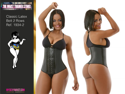 """CLASSIC SNATCH"" 2 ROW HOOK ~ BLACK LATEX~LONG TORSO~WAIST TRAINER (QUICK SHIP)"