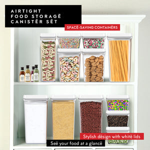 Airtight Food Storage Containers with White Lids Baking Supplies – 4 Piece Set