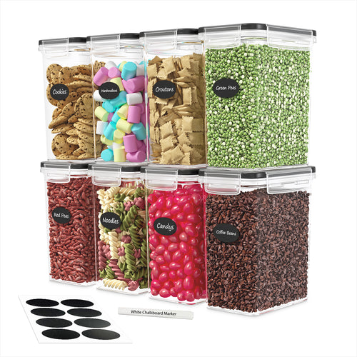 Airtight Food Storage Container Set - 8 Pieces 1.6L - Plastic BPA Free Kitchen Pantry Storage Containers - Dishwasher Safe - Include 8 Labels and Marker - Keeps Food Fresh & Dry