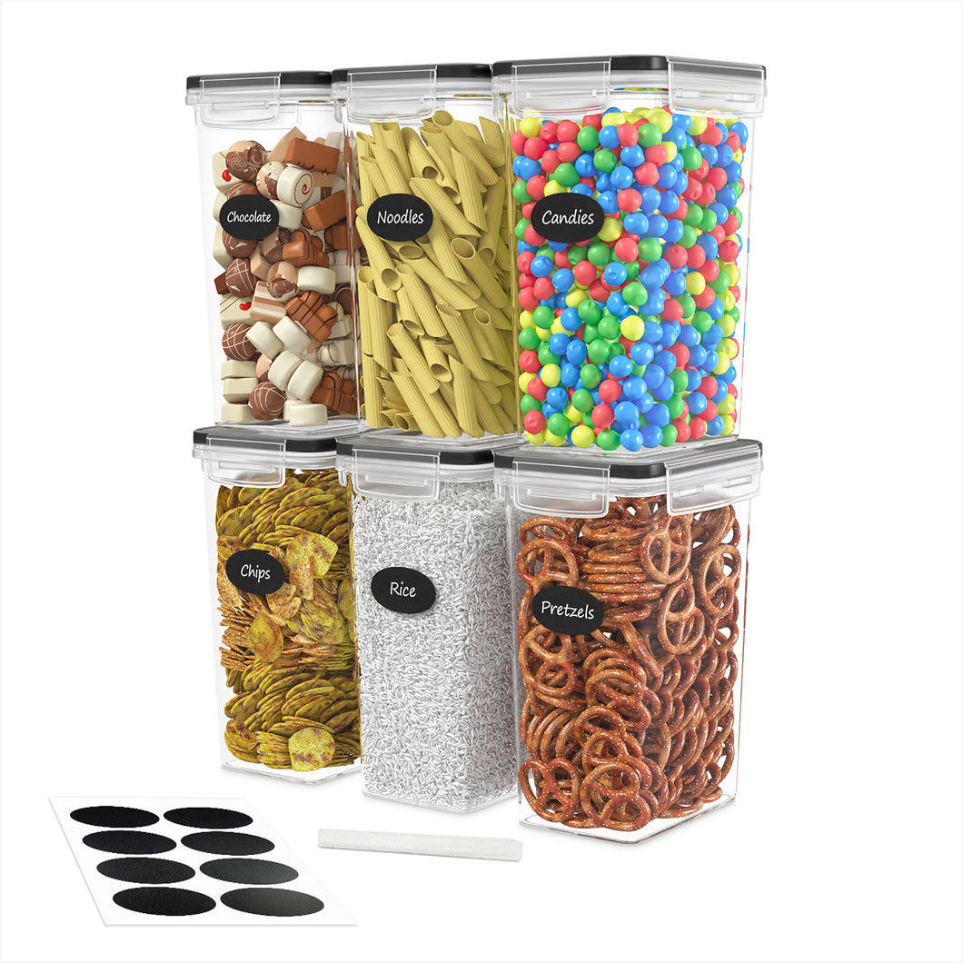Airtight Food Storage Container Set - 6 Pieces 2.0L - Plastic BPA Free Kitchen Pantry Storage Containers - Dishwasher Safe - Include 8 Labels and Marker - Keeps Food Fresh & Dry