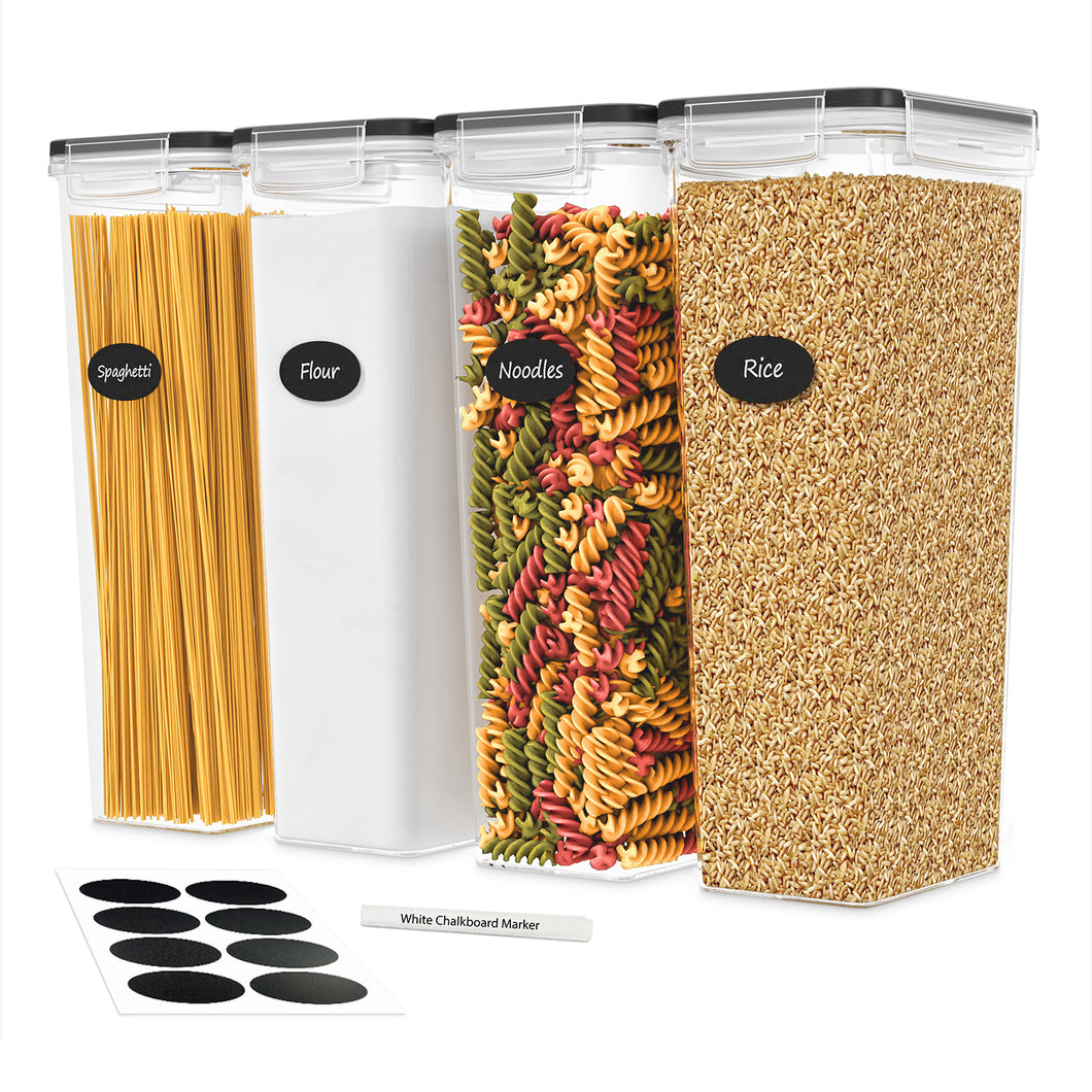 Tall Airtight Food Storage Containers with Lids - for Spaghetti, Noodles & Pasta - 4 Piece Set/All Same Size - Pantry & Kitchen Organization - Plastic Canisters Keeps Food Fresh & Dry