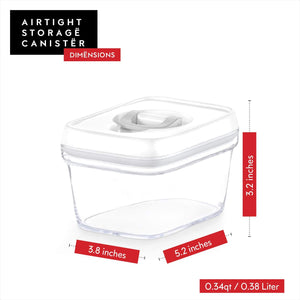Airtight Food Storage Container - Best Seal - Pantry Container 0.34 Qt for Spices, Candy, Tea, Baking Soda and More, Clear Plastic BPA-Free, Keeps Food