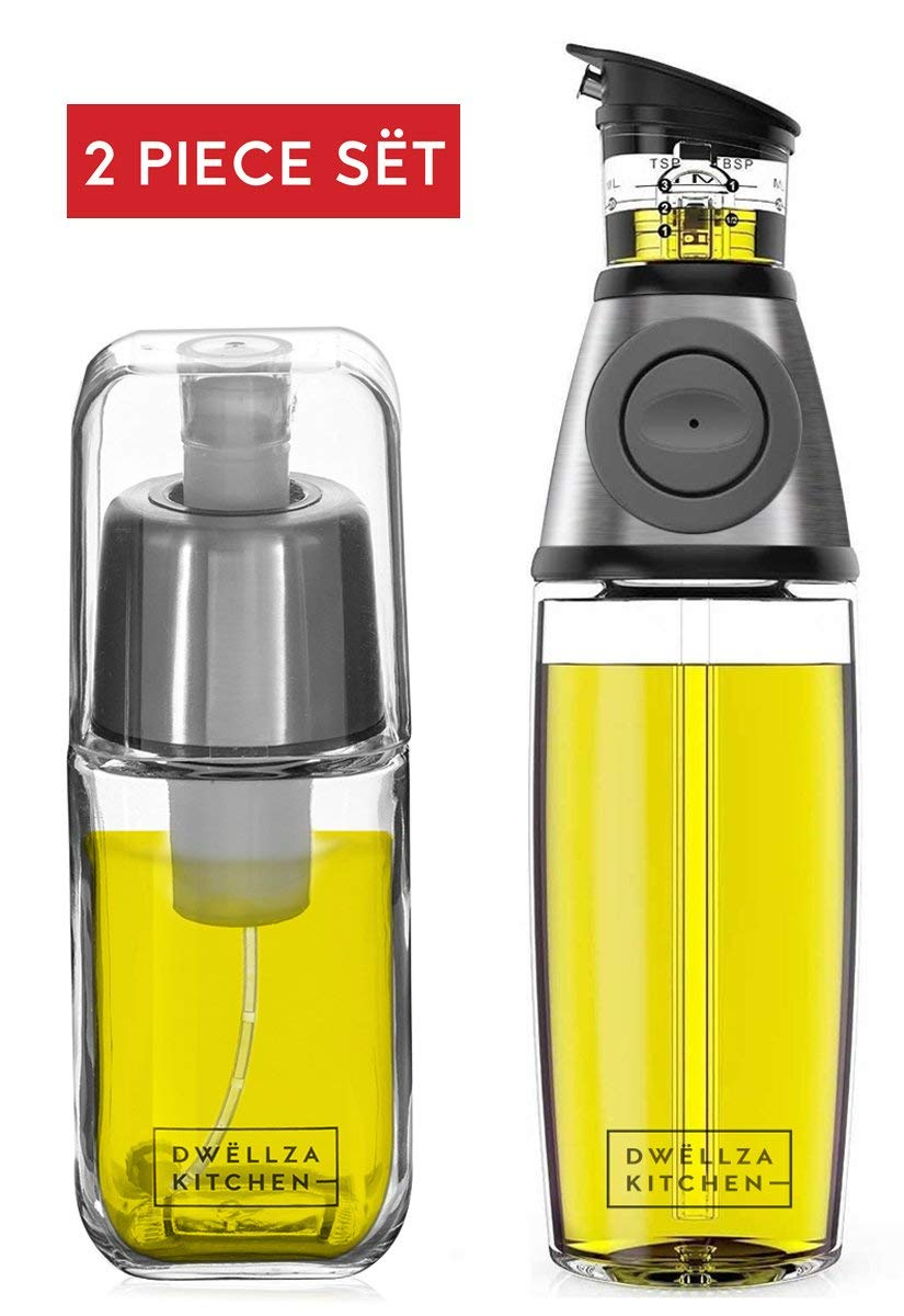 DWELLZA KITCHEN Olive Oil Dispenser and Oil Sprayer for Cooking Set – Premium Oil Mister Sprayer 6 OZ and Glass Oil Bottle 17 OZ with Measurements and Drip-Free Spout Stainless Steel