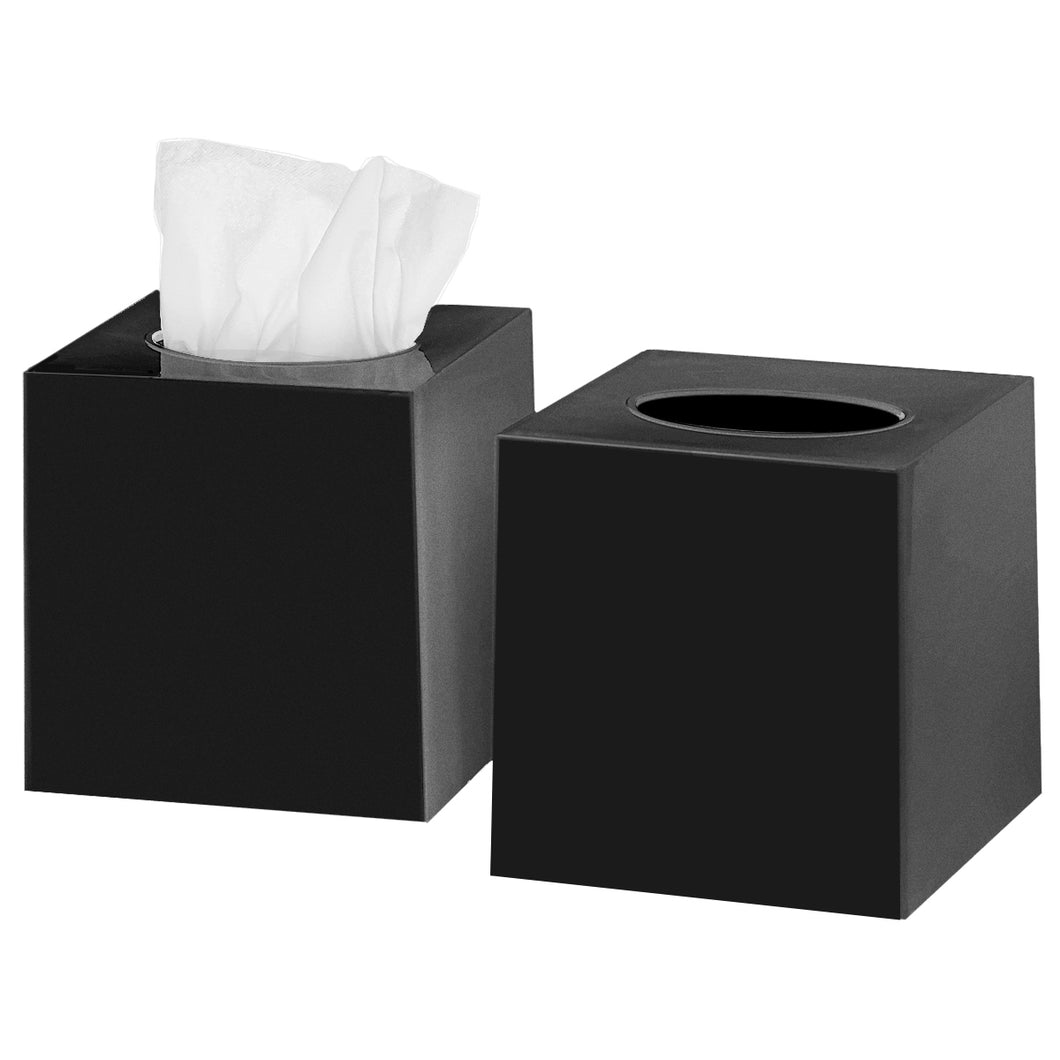 Tissue Box Cover Square - Facial Cube Tissue Box Holder Case Dispenser for Bathroom Vanity Countertop, Bedroom Dresser, Office Desk or Night Stand Table, 2 Pack - Black
