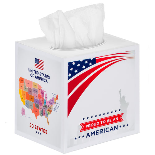 USA Map Tissue Box Cover Square