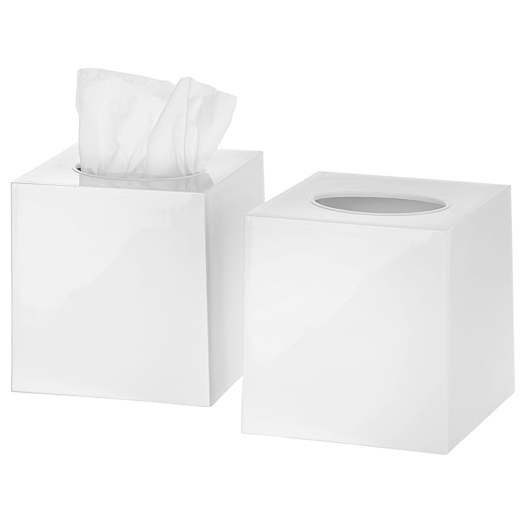Tissue Box Cover Square - Facial Cube Tissue Box Holder Case Dispenser for Bathroom Vanity Countertop, Bedroom Dresser, Office Desk or Night Stand Table, 2 Pack - White