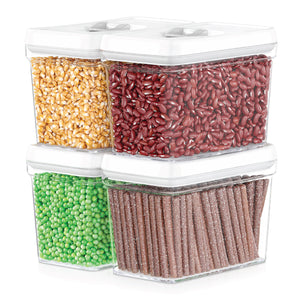 Airtight Food Storage Containers with White Lids Sugar & Flour Canister  – 4 Piece Set
