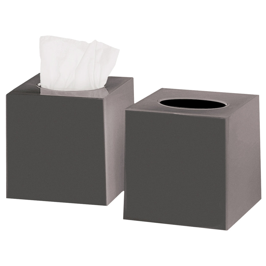 Tissue Box Cover Square - Facial Cube Tissue Box Holder Case Dispenser for Bathroom Vanity Countertop, Bedroom Dresser, Office Desk or Night Stand Table, 2 Pack - Grey