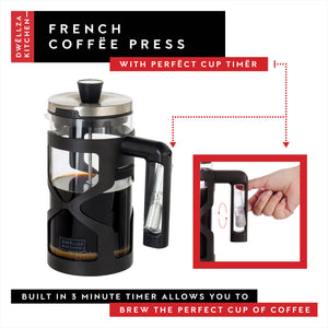 French Press Coffee Maker Includes 2 Bonus Filters - Loose Leaf Glass Tea Brewer