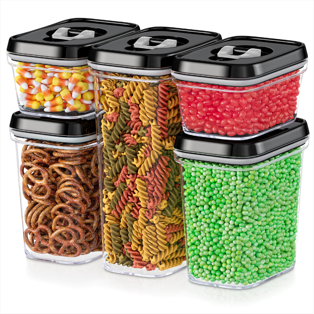 Airtight Food Storage Containers - 5 Piece Set - Air Tight Lid - Kitchen & Pantry Containers - Clear Thick Plastic Canisters - BPA-Free - Keeps Food Fresh & Dry