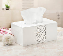 "Decorative White Tissue Box Cover Rectangular (10.25"" x 5.9"" x 4.53"") - Mirror Janette Collection - Bath Tissues Paper Napkin Holder- Resin Rectangle Napkins Container"
