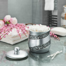Silver Mosaic Q Tip Holder