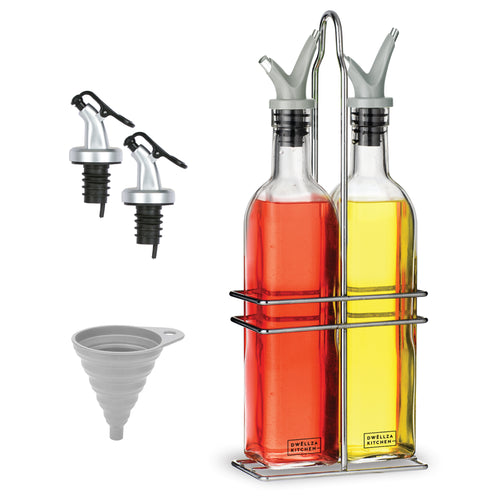 Oil and Vinegar Dispenser Set - Olive Oil Dispenser Bottles for Kitchen - with Two Extra Drip Free Spouts and Funnel - 17 Oz 500 ML Glass Bottle Containers with Stainless Steel Rack