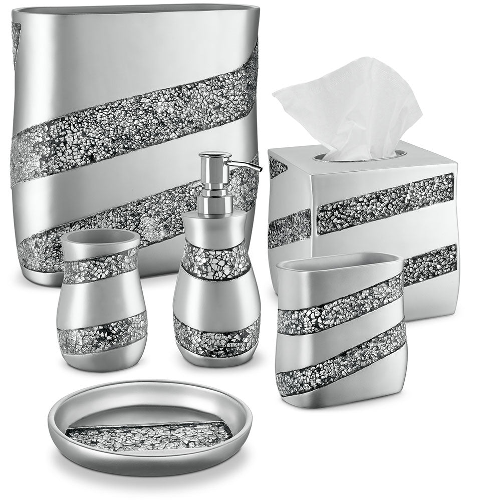 Silver Mosaic 6 Piece Bathroom Accessories Set
