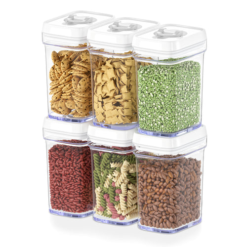 Airtight Food Storage Containers with White Lids – 6 Piece Set