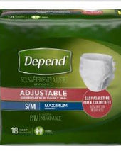 Depend®Adjustable Absorbent Underwear, Small / Medium, 18/PK