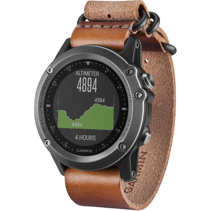 Garmin fenix 3 Sapphire Multisport Training GPS Watch - grey,leather band